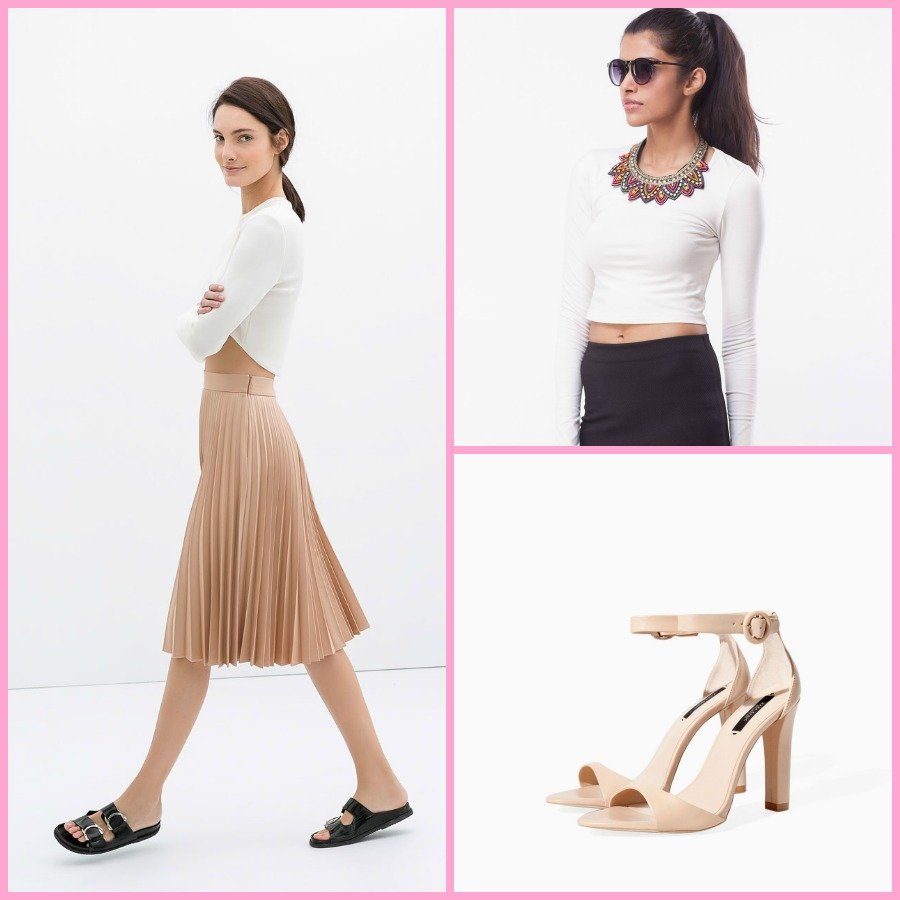 Coated Pleated Skirt & Leather Wide Heel Sandal - ZARA | Long Sleeved Crop Top - KOOVS.com