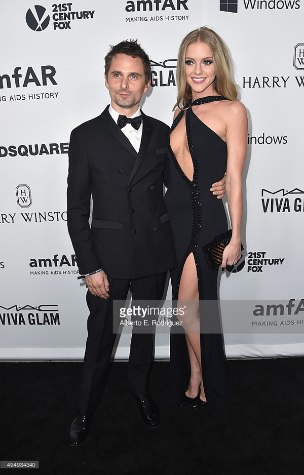 Matthew Bellamy and Elle Evans amFAR celeb style